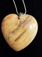 natural stone bead pendant Mexico Crazy Lace Agate heart FREE SHIPPING