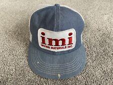 VTG IMI Irving Materials Denim Foam Mesh Patch Trucker Hat Snapback USA Made