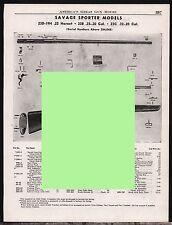 1953 SAVAGE 23D, 19H, 23B, 23C Sporter Rifle Parts List AD