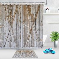 Distressed Wood Barn Door Bathroom Set Shower Curtain Waterproof Fabric 12 Hooks