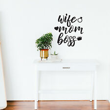 Vinyl Wall Art Decal - Wife Mom Boss - WItty Cute Mom Quotes Wall Art 25* x 22*