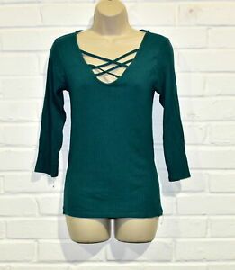 Women's Size 12 Strappy Neckline 3/4 Sleeve Ribbed Stretch Top - Green