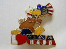 """Olympic PIN Vintage '84 SAM the Mascot Says """"I Heart (LOVE) USA"""" Americana Lapel"""