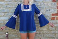 Vintage 60s Retro Blue Bell Sleeved Embroidered Bib Front Flared Top M 12 14