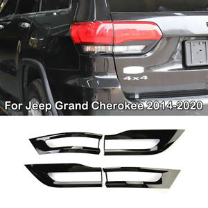 For Jeep Grand Cherokee 2014-2020 Gloss Black Tail Light Lamp Bezel Covers Trim