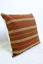 "Original Retro Fabric Cushion Cover 70s 16x16"" Vintage Brown Campervan Boho"