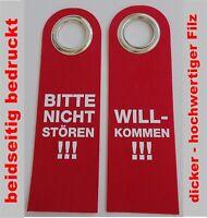 Türschild Filz Türhänger rot Bitte nicht stören Willkommen beidseitig