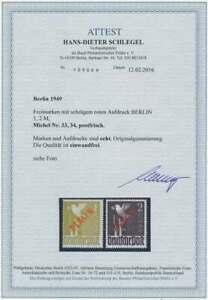 Berlin Rotaufdruck 33 - 34 postfrisch **, Attest FA H.D. Schlegel, einwandfrei