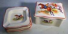 Vintage 4 Small Ashtray & Porcelain Box Trinket Jewelry England Hunting Scene