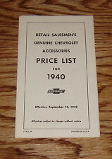1940 Chevrolet Car & Truck Accessory Listing & Prices Brochure 40 Chevy