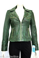 Candice Green Ladies Woman's Designer Biker Style Washed Sheep Leather Jacket
