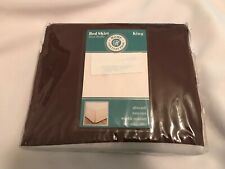 "NIP HOME COLLECTION Brown Micofiber King Bed Skirt-14"" drop"