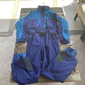 Helly Hansen Ski Suit Equipe Purple One Piece Snowsuit Belted SZ XL