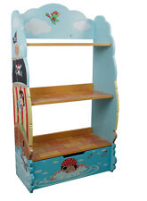 Teamson Childrens Pirate Island Blue Book Case Kids Wooden Bookcase Bookshelf
