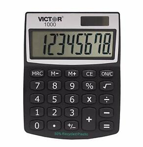 Victor 1000 8-Digit Standard Function Calculator, Battery and Solar Hybrid Power