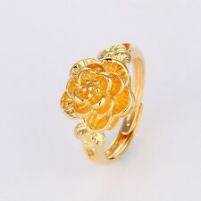 Hot Women's adjustable Rings 24k Yellow Gold Filled Charm Jewelry Gift Size 6-10