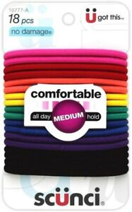 Scunci Hair Elastics 18 Pieces Bobbles Bright Colours Medium Hold Metal Free