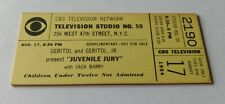 """CBS Television Network 1954 """"Juvenile Jury""""  Show Ticket starring Jack Barry"""