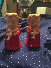 Set of 2 Ceramic Christmas Angel Candle Holders Red Hico Japan-Hand Painted