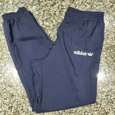 Vintage Adidas Embroidered Trefoil Logo Track Pants Windpants Ankle Zip Large