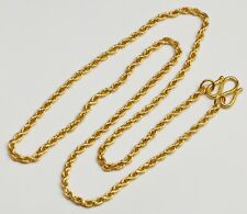 24K Solid Yellow Gold Rope Chain Necklace 14.5 Grams