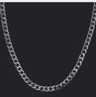 Silber dunkel HerrenKette 60cm 10MM dick Edelstahl für Herren Panzerkette Männer