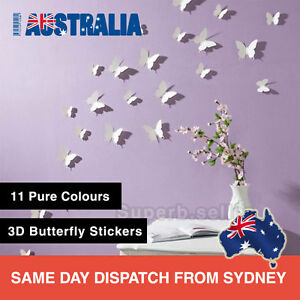 12Pcs 3D Butterfly Wall Decals Removable Sticker Kids Art Nursery Decor Floral