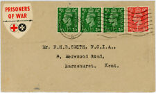 More details for gb 1942 ww2 prisoner of war fund raising label red cross to kent cinderella