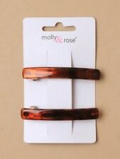 tortoise shell brown hair clips barrette pair 6cm rectangle 6158