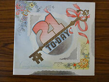 c1950s Illustrated 21st Birthday Card: Key & Flowers: Happy & Successful Future