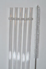 "5 Clear Reusable Replacement Drinking Party Straw Acrylic 11"" BPA Free Brush #23"