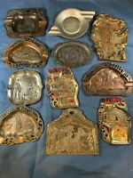 Vintage Lot of 11 Enamel  State Souvenir Wisconsin! Ashtrays A649
