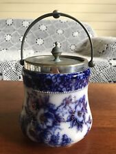 Antique Rare Stunning Carlton Ware Biscuit Barrel Petunia Silver Plate