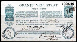 ORANGE FREE STATE POSTAL ORDER NOTE 1/- USED 1898 KROONSTAD, VREDEFORT