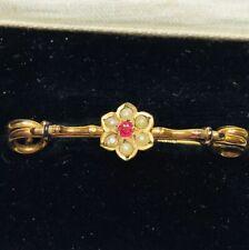 Set Cluster Bar Brooch Pin Vintage 9 Carat Gold Pearl