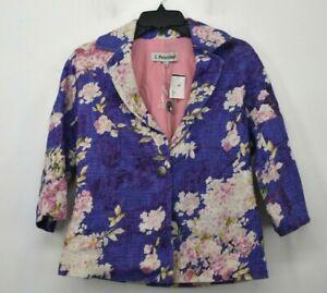 J Peterman Womens Floral Print Notch Lapel One Button Cotton Casual Blazer 4