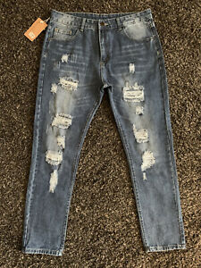 🤍 NWT Dant Bullun   Mens Size 36 Jeans   Factory Fade/Distress/Ripped