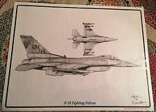 F-16 Fighting Falcon Dale Adkins WWII Aviation Art Airplane Aircraft PRINT