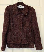 Ann Taylor Women's Blazer/Skirt Suit Fringe Edge Tweed Wool Blend size 2 & 4