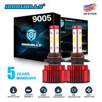 Pair 4-sides LED Headlight Kit 9005 HB3 H10 9140 9145 2600W 6000K 390000LM Bulbs