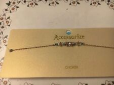 MONSOON ACCESSORIZE GOLD BLUE BEAD CHOKER NECKLACE NEW