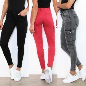Ladies cargo skinny stretch Jeans Trousers Black Grey Pink UK sizes 6 8 10 12 14