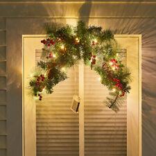 More details for artificial hanging door wreath pine leaf bauble fireplace garland 3m light decor