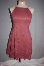 4e22b03bdf2 Jr Womens MAUVE RUST SUMMER DRESS Above Knee LACE OVERLAY Lined RUE 21 Size  XS