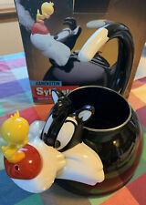 Vintage Looney Tunes Sylvester Tweety Bird 1995 Tea Kettle Pot Kamenstein Video!