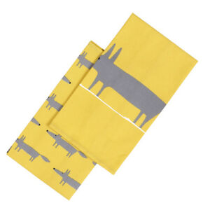Scion Mr Fox set 2 Tea Towels Yellow Kitchen Baking Cooking Hang Loops Colourful