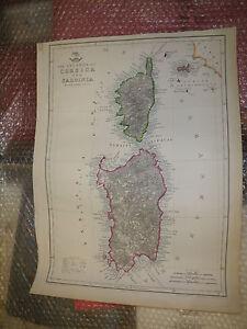 Islands of Corsica, Sardinia Italy circa1863 Dispatch Atlas J.Dower Framed40more