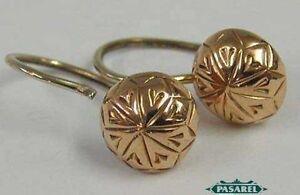 Wonderful Modern 9k Rose Gold Floral Designer Earrings