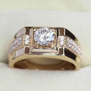 2 Ct Round Diamond 14K Yellow Gold Finish Wedding Band Solitaire Engagement Ring