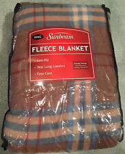 Sunbeam Brown, Blue And Red Plaid Fleece King Sized Blanket, Brand New!